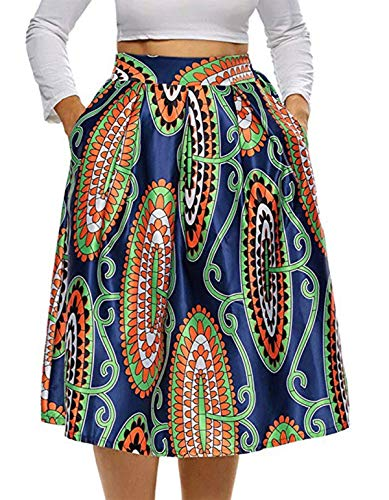 940 - Vintage High Waist Floral African Ethics Printed Skater A-Lined Midi Plus Size Skirt (3X, Paisley)