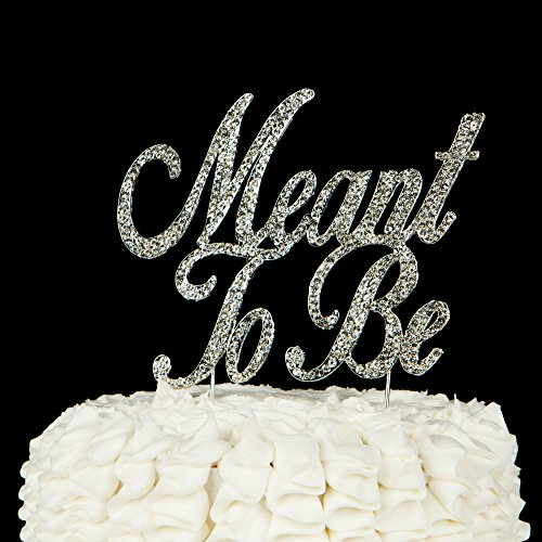 Meant to Be Wedding Cake Topper, Silver Crystal Rhinestone Decor (Meant To Be - Silver)