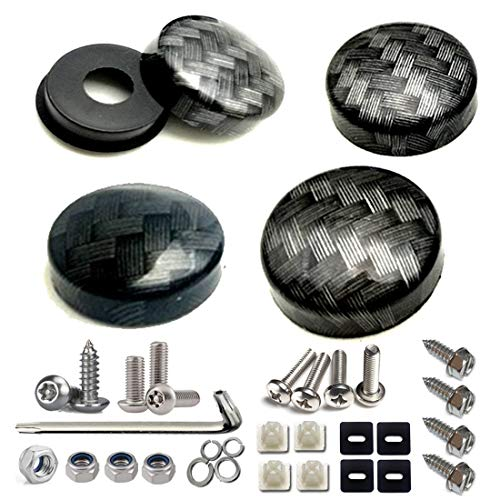 License Plate Screws with Caps-Carbon Fiber Pattern Screw Black Cover (ABS) and Anti Theft Stainless Steel Rust Resistant License Screws - Pattern Carbon Fiber