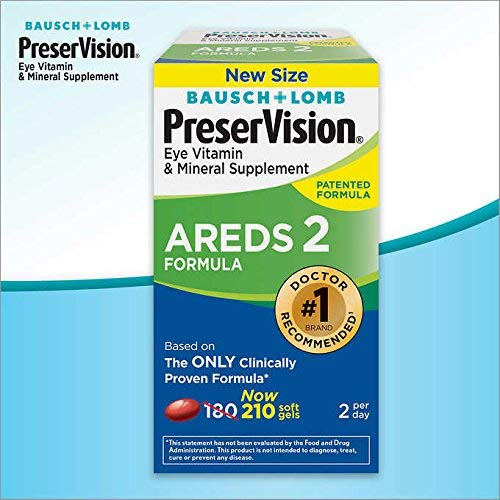 PreserVision AREDS 2 Eye Vitamin and Mineral Supplement with Lutein and Zeaxanthin, Soft Gels, 210 Count