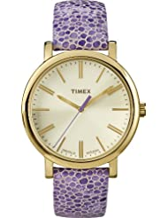 Timex Modern Originals Grande Classics T2P326AW Silver and Gold Case and Purple Textured Strap