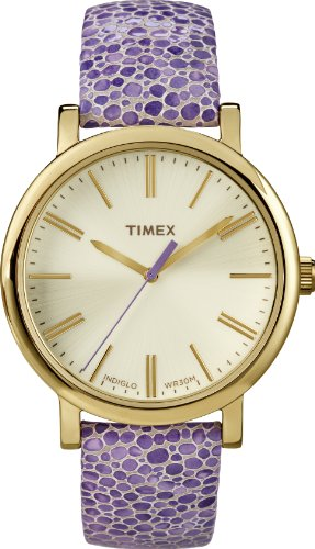Amazon Lightning Deal 62% claimed: Timex Modern Originals Grande Classics T2P326AW Silver and Gold Case and Purple Textured Strap