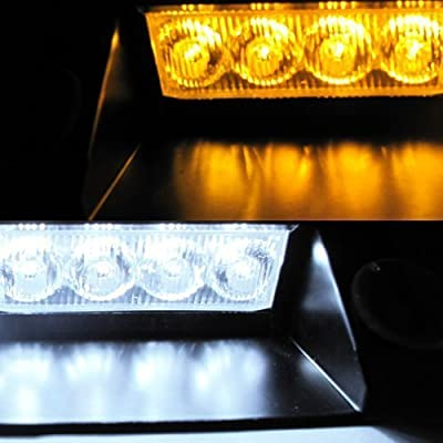 DIYAH 8 LED Warning Caution Car Van Truck Emergency Strobe Light Lamp For Interior Roof Dash Windshield (Amber and White): Automotive
