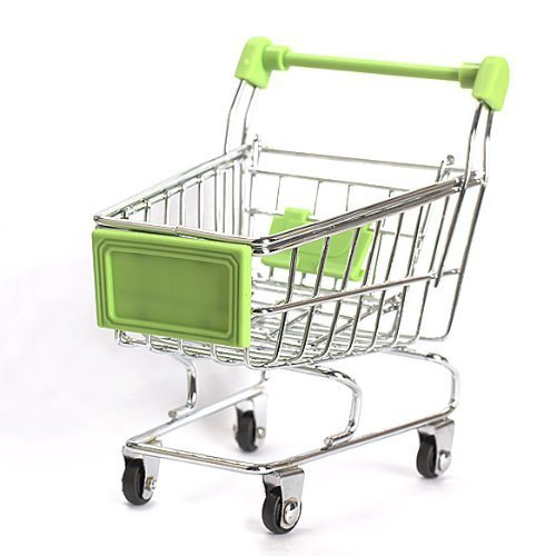 Mini Shopping Cart Supermarket Handcart Shopping Utility Cart Mode Storage Toy Green