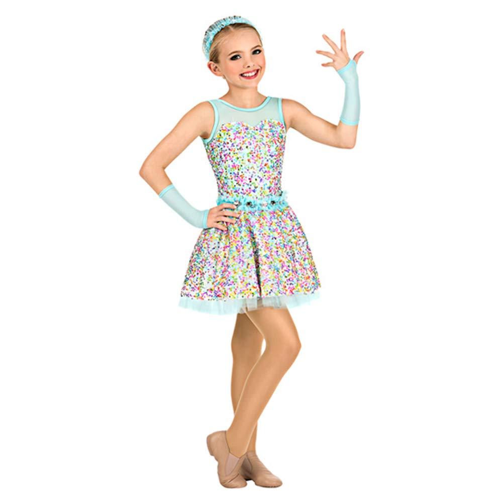 JIE。チュチュモダン子供ダンスバレエパフォーマンス衣装カラースパンコール衣装スカート、LC B07PS89182