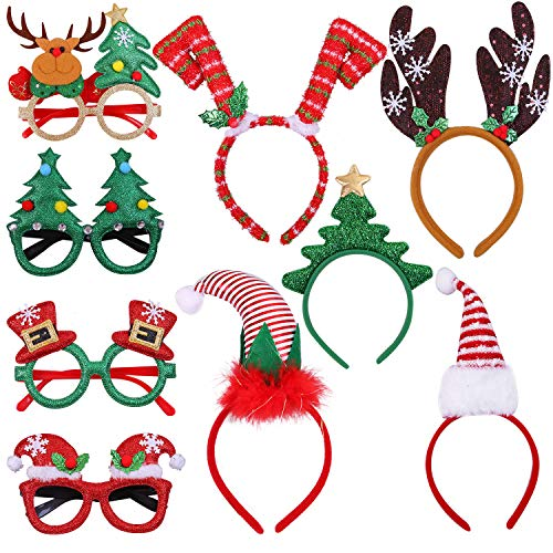 Aneco 9 Pack Christmas Headbands Christmas Glasses Frames Xmas Party Hat Headwear Christmas Costume Accessory for Christmas Party Supplies (Christmas For Costumes Party)