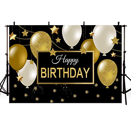 MEHOFOTO 7x5ft Black Golden Silver Balloons Birthday Banner Photography Backdrops Kids Adult Happy Birthday Party Sparkling Gold Stars Backdrops for Photography Props Cake Table (Best Birthday Banners)