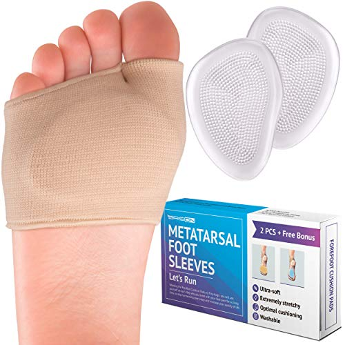 (Metatarsal Pads - Gel Sleeves Forefoot Cushion Pads - Fabric Soft Foot Care Ball of Foot Cushions for Bunion Forefoot Mortons Neuroma Blisters Callus Supports Metatarsalgia Pain Relief - Men Women)