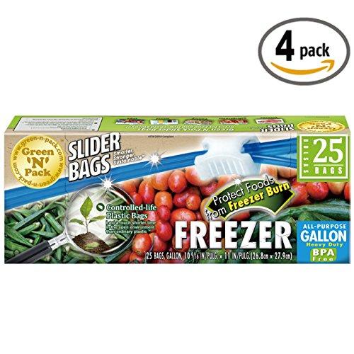 35k Gallons (Green N Pack Premium Freezer Slider Bags (BPA Free), Gallon, 35 Count, Pack of)