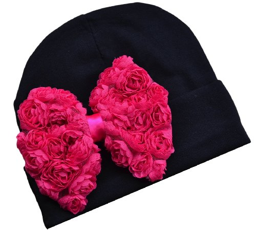 Rosette Bow - Shabby Chiffon Rosette Bow Cotton Baby Hat (0-6 Months, Black Hat with Hot Pink Bow)