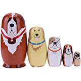 Childplaymate Matryoshka Dolls 5pcs Basswood Dog Type Handmade Russian Nesting Dolls Birthday Gift for Kids Decoration (H)