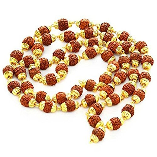 ala Necklace With Gold Cap For Meditation Yoga & Healing / Includes Pouch - OMA FEDERAL (TM) BRAND (Rudraksha Seed)