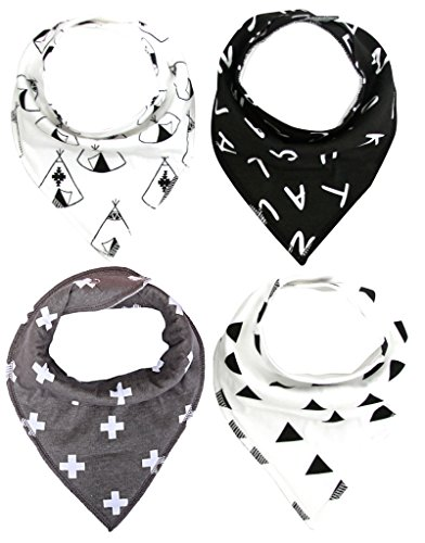 Moo Swaddle (MKONY Baby Bandana Drool Bibs with 2 Snaps,Monochrome Set,4-Pack Soft Absorbent Cotton, Cute Baby Gift for Boys &)