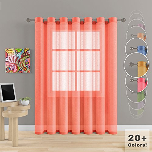 Grommet Semi Sheer Luxury 1 Double Wide Curtain Panel Window Home Decor and Upscale Design Light Penetrating Provide Privacy Soft Durable Polyester Easy Maintenance (Panoramic 104″x95″ Coral)
