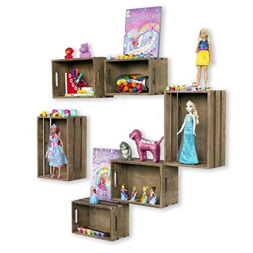 WALLNITURE Nursery Room Wall Mount Wood Storage Basket Crates Walnut Set of 6