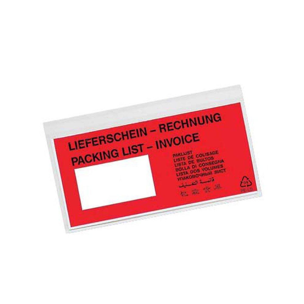 250 Pezzi DOCUFIX Dokumententaschen *Lieferschein/Rechnung*, DIN Lang 240x110mm / con indicazione Lieferschein/Rechnung VP-DO-202#1
