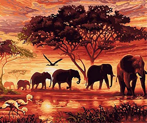 EOBROMD 5D Diamond Painting Full Drill DIY Embroidery Painting Wall Sticker for Home Decor, a Herd of Elephants 12 x 16inch (Diy-herd)