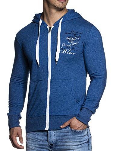 Herren Sweatjacke Zip Hoodie Sweatshirt mit Kapuze Tazzio Longsleeve Langarm Shirt 14203 Blau XXL