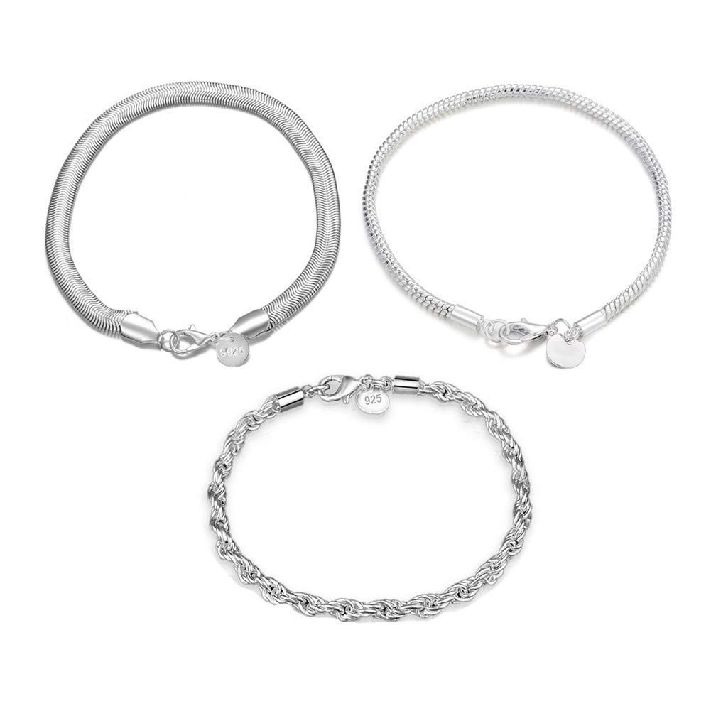 3 Sterling Silver Bracelets Earrings