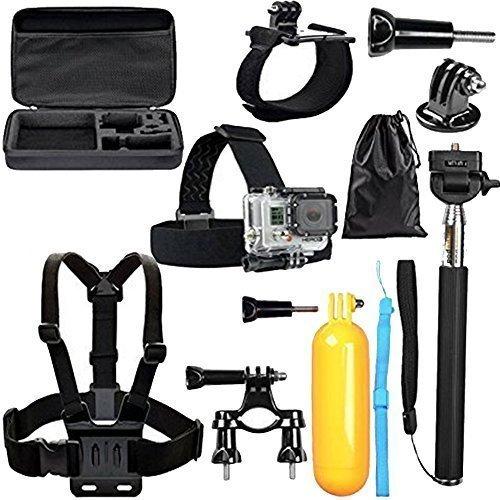 BPS GoPro Zubehör Set für GoPro Hero Kamera verfügt Gopro Hero 4 Hero 3 + 3 2 schwarz silber in Fallschirmspringen Radsport Camping und mehr, beinhaltet: Handgelenkhalterung + Brustgurt + Kopfband(mit Beutel)+ einstellbare Teleskopverlängerungsstange + Lenker Sitzrohr und Stangenhalterung+ Schwimmende Handgriff + Stativ Montageadapter + Tasche,passend auch für Rollei AC 300 Rollei 400 Rollei 410 Rollei 420.