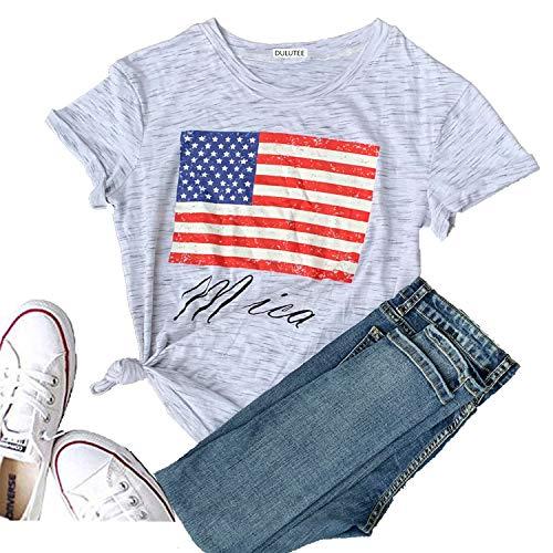 - Hellopopgo Women's Merica USA Flag Baseball Printed Sport T-Shirt O-Neck Mom Causal Tee Tops Blouse Gift (XX-Large, Light Gray)