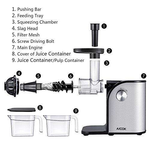 Aicok Slow Masticating juicer, Cold Press Juice Extractor ...