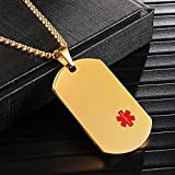 """LMXXV 22MM×36MM Medical Alert ID P.T.S.D. Neckalce Quality Metal Gold Plated Stainless Steel Dog Tag Pendant Charm,24"""" Chain"""