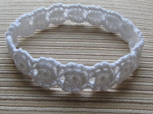 Knitting Pattern Lacy Baby Headband with Pearls 0-12 Months +