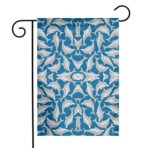 Huayuanqiqiqiqi Blue Sea Dolphins Home Sweet Home Garden Flag Vertical Double Sided Spring Summer Yard Outdoor Decorative 12 X 18 ()