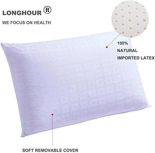 Breathable Comfortable With Pillow Cover Standard Size NATURAL LATEX PILLOW