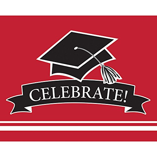 (Creative Converting 25 Count Graduation Party Invitations, Classic Red)