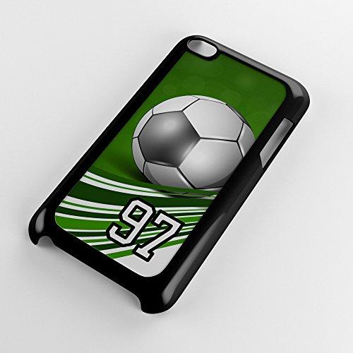 Generation 4 Soccer Ball Green Swirl Stripes Any Custom Jersey Number 97 Black Plastic (Swirl Soccer Goalie Jersey)