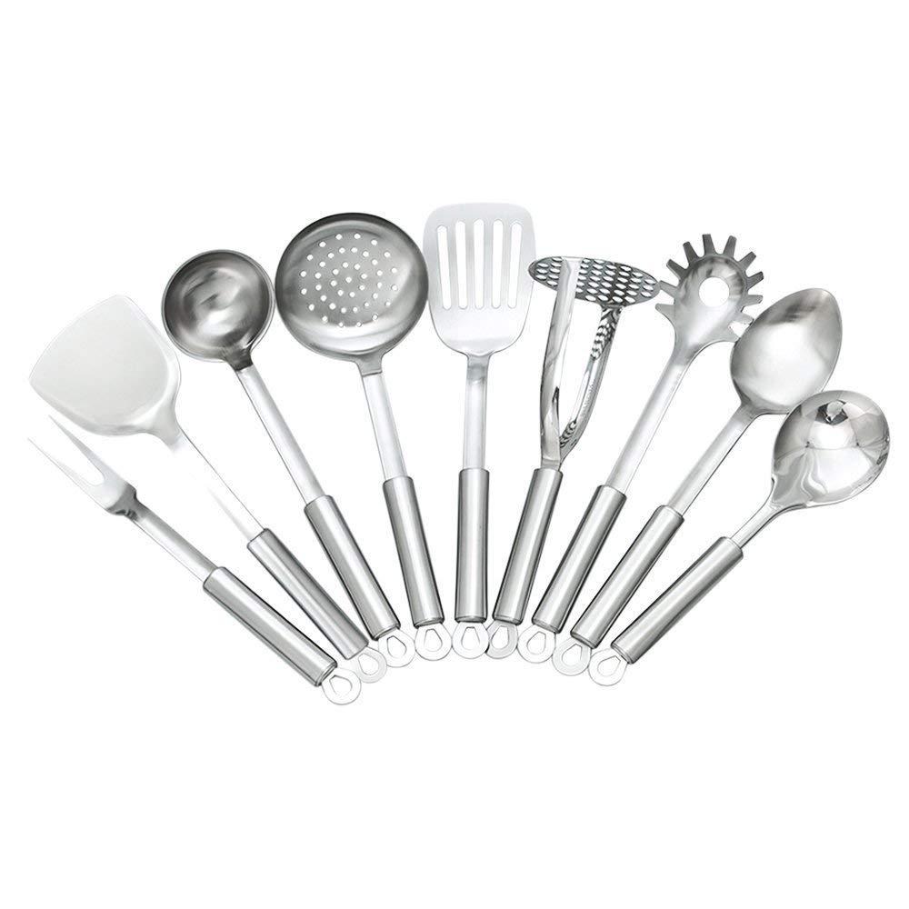 TAFOND 9 Piece Stainless Steel Kitchen Utensils Sets-Spatula,Soup Ladle,Spoon,Slotted Spatula,Skimmer,Rice Spoon,Spaghetti Spoon,Meat Fork,Potato Masher