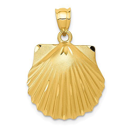 FB Jewels Solid 14K Yellow Gold Seashell Pendant