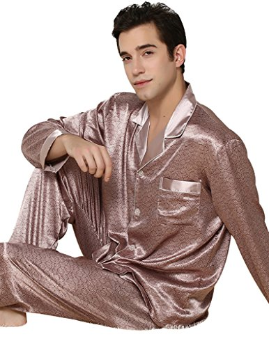 VENTELAN Men's Long Sleeve Comfort Spring Paisley Button-Front Lapel Pajamas Set