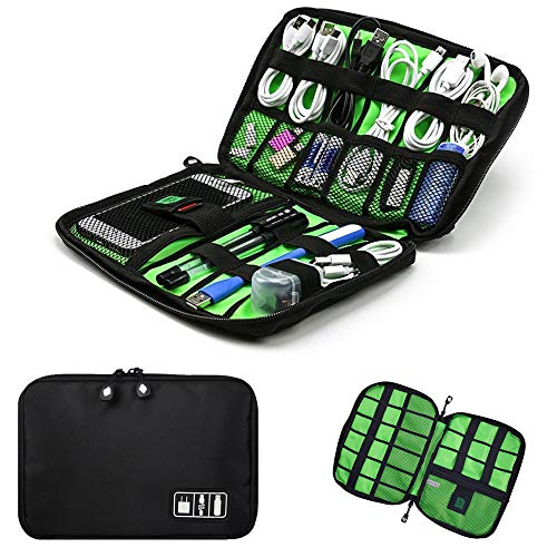 TTM Cable Portable Organizer Case Easy Universal Carry Travel Organizer Bag Waterproof Electronics Accessories Bag Phone Charger Case for Electronic Computer Cell Phone iPad Accessories USB Cables Pow