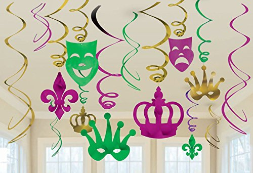 30Ct Mardi Gras Hanging Party Decorations - Ceiling Swirl Crown Mask Supplies Decor