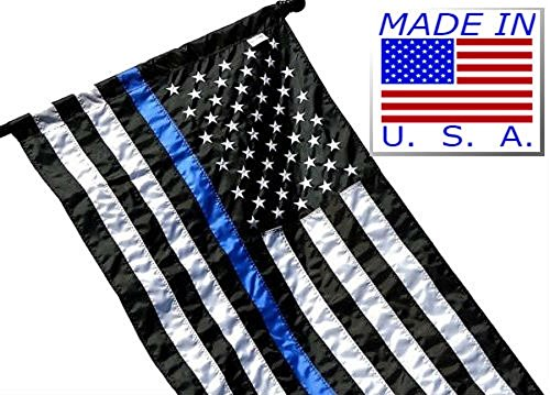 ALBATROS 2.5 x 4 Police Memorial Blue Line Flag Made in USA Embroidered Nylon Pole Sleeve for Home and Parades, Official Party, All Weather Indoors Outdoors