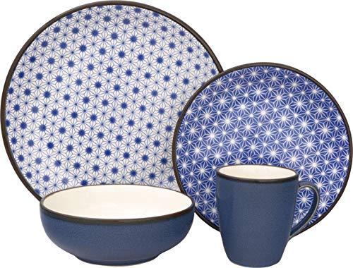 Sango 3319BL800ACM24 Celestial 16-Piece Stoneware Dinnerware Set, Blue
