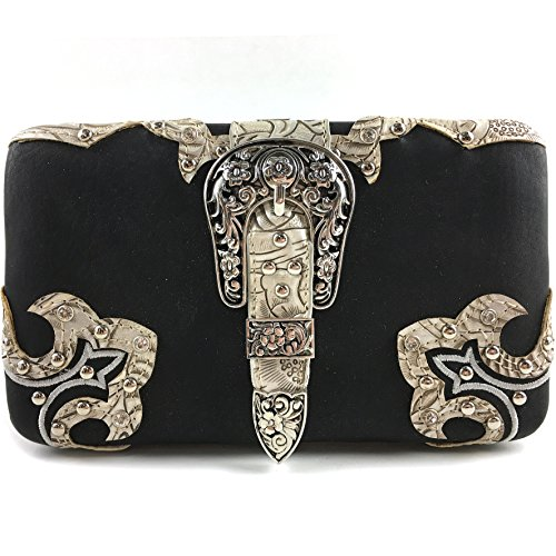 - Justin West Concealed Carry Rhinestone Tooled Leather Studded Buckle Messenger Cross Body Handbag Purse (Black Beige Wallet)