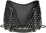 PRETYZOOM Studded Shoulder Bag for Women Leather Punk Rock Style Rivet Crossbody Bag Handbag with Chain Wallet