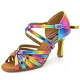 HXYOO Indoor Women Dancing Shoes for Salsa Ballroom Latin WK035