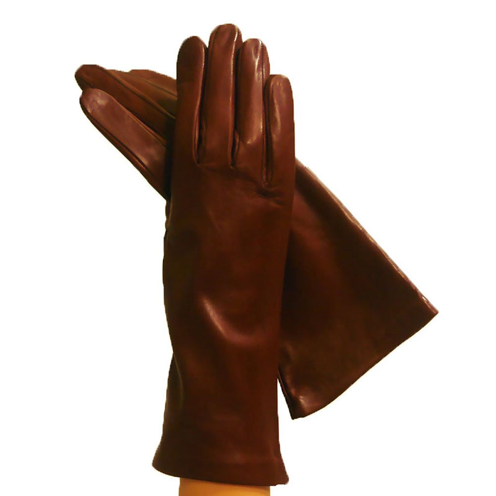 Women's Italian Leather Gloves Lined in Silk.''4bt'' In Many Colors. By Solo Classe. (8 1/2, Brown)