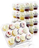Chefible Premium Plastic Disposable 12 Cupcake Carrier Container Box, High Dome, Extra Sturdy For Easy Transport! 4 Pack