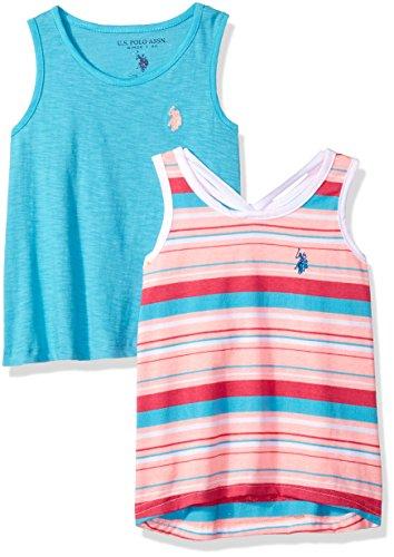 (U.S. Polo Assn. Girls' Little Fashion Tank, Pack Apricot Stripe Turquoise slub Multi 4)