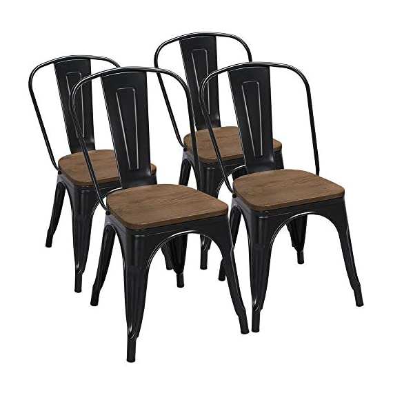 Yaheetech 18 Inch Classic Iron Metal Dinning Chair with Wood Top/Seat Indoor-Outdoor Use Chic Dining Bistro Cafe Side Barstool Bar Chair Coffee Chair Set of 4 Black - 🐬Solid & durable: The seat of the side chair is made of wood and the other parts are made of iron. Offer you a comfortable seat and solid support. It is solid enough for your daily needs. The load-bearing capacity is 150kg/330lb. 🐬Stackable design with scratch-proof pads: You can stack these armless chairs on top of the other to save space for unused time. Rubber feet under the chair legs keep floors from sliding and scratching. Also, the rubber pads can reduce noise when you move the chairs. 🐬X-shape brace: The wooden surface is tightly screwed to the chair and the seat of the dinning chair is enforced by an X-shape brace below to provide more stability and load bearing. - kitchen-dining-room-furniture, kitchen-dining-room, kitchen-dining-room-chairs - 51NDVr8pZPL. SS570  -