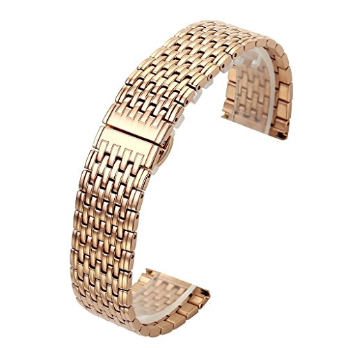 Solid Rose Gold Watch (Top Plaza 20MM Rose Gold Solid Stainless Steel Straight End Link Bracelet Wrist Watch Band Strap Replacement Double Push Spring Butterfly Deployment Clasp 9 Rows Metal Strap)