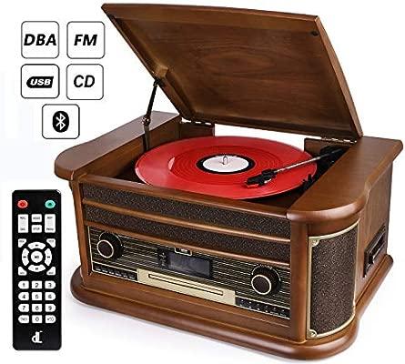 D & L 7 en 1 DAB Tocadiscos Vintage Madera con Bluetooth ...