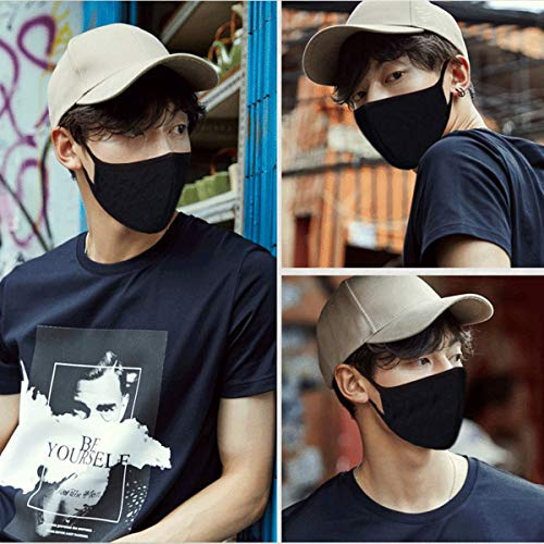 FECEDY 8pcs/Pack Dust Masks Breathable Reusable for Outdoor Sport Half Face Earloop Mask Dust Pollen Cotton Black Masks (Black)