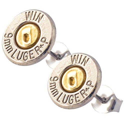 9mm bullet stud earrings - 9